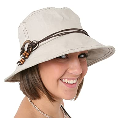 aa35b1755ff Ladies Beige Shapeable Brim Sun Hat With Beaded Rope String Round Brim   Amazon.co.uk  Clothing