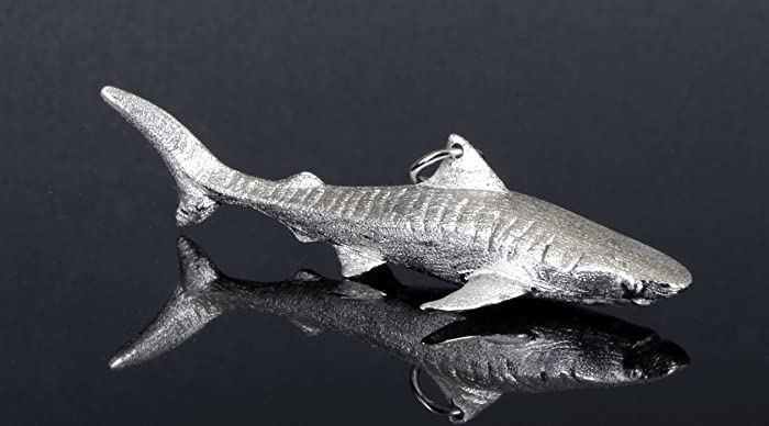 Amazon com: Sterling Silver Rhodium Plated 3D Tiger Shark