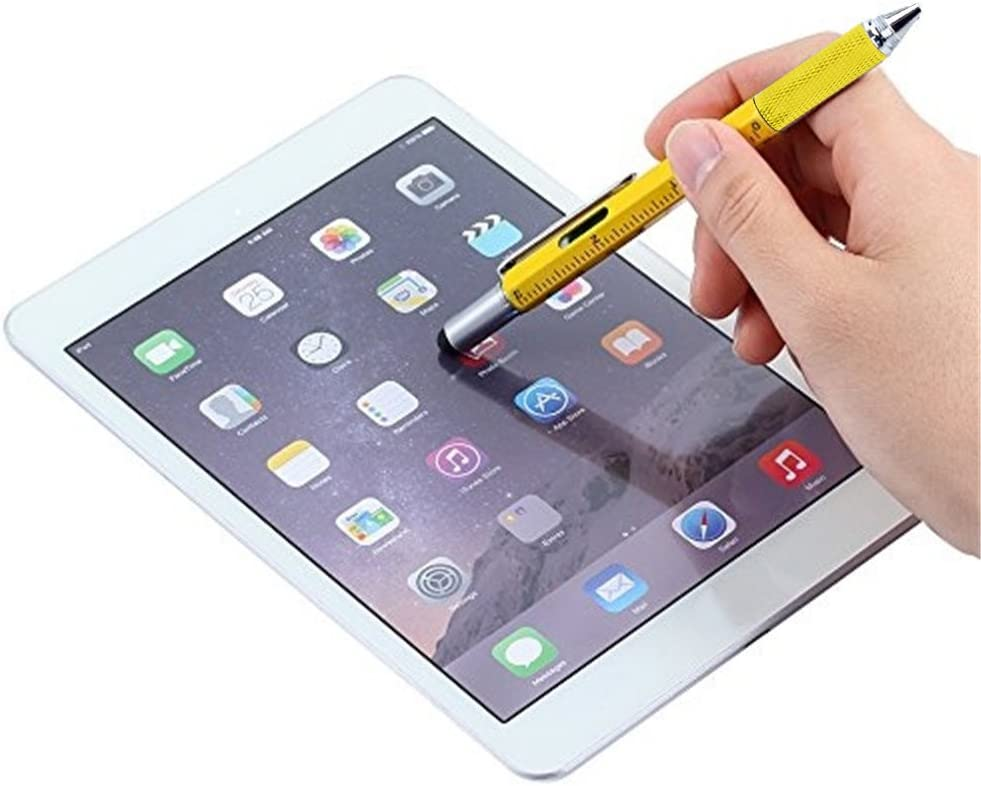 Touch Screen Stylus 2/×Black + 5/×Refills 6 in 1 Tool with Ballpoint Pen Multifunction Tool Pen Spirit Level Flat-head and Phillips Screwdriver All-in-One Tech-Tool Pen with Ink Refills Ruler