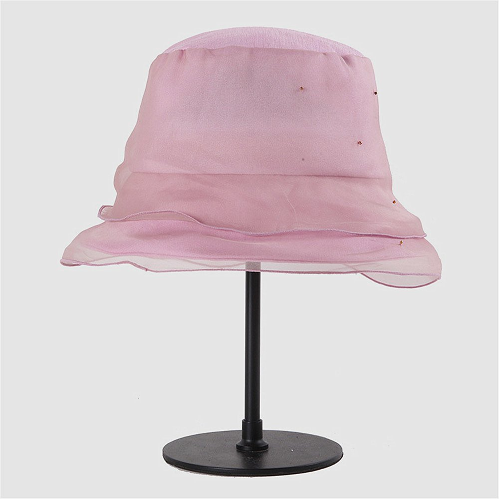 Dig dog bone Spring and Summer Seasonal Silk Hats Can Be Folded in Korean Style (Color : Pink)