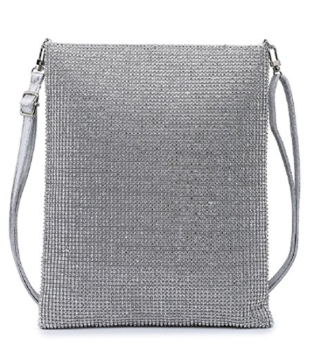 Women's Diamante Purse Clutch Ladies Summer Bag Crystal Silver M38427 Handbag Messenger Evening Party 0d6qxqRwO