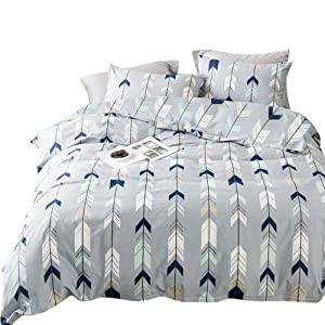 Queen Geometric Bedding Comforter Cover Sets Boys Girls Cotton Duvet Cover Sets Elegant Blue Chevron Geometric Design Bedding Sets for Woman Man Teens, Luxury Silky Soft Bedding Collections Queen