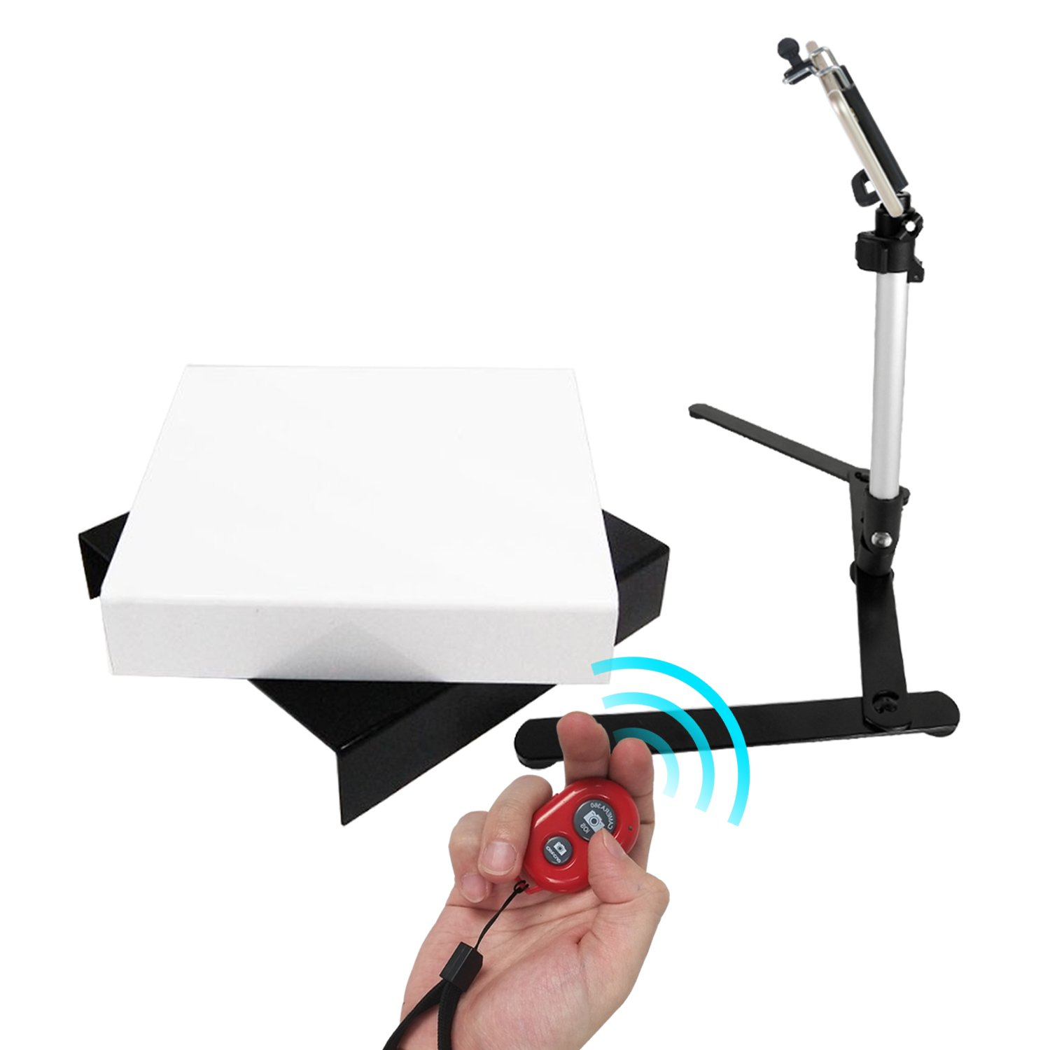"Julius Studio Black & White Acrylic Riser Display Table Set with 17"" Mini Table Top Light Stand, Cellphone Holder Adapter, and Red Wireless Bluetooth Remote Control Shutter, JSAG434 by Julius Studio"