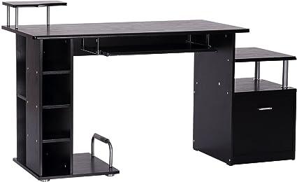 Forno Anche incompleto  HOMCOM Scrivania per Computer Scrivania Ufficio Porta PC con Ripiani  Tastiera 152 x 60 x 88cm Nero: Amazon.it: Cancelleria e prodotti per ufficio