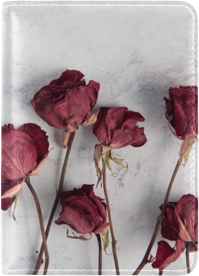 Roses Flowers Red Leather Passport Holder Cover Case Travel One Pocket