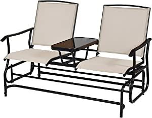 Giantex Patio Glider Chair Outdoor W/Mesh Fabric and Center Tempered Glass Table Rocking Loveseat for Patio, Garden, Poolside, Balcony Swing Rocking Chair (Beige)