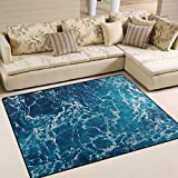 Naanle Ocean Beach Theme Area Rug 5'x7′, Sea Waves Polyester Area Rug Mat for Living Dining Dorm Room Bedroom Home Decorative For Sale