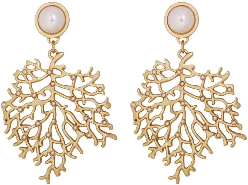 Coral en forma de aretes de perla creativa Declaración de pendientes pendientes de las mujeres, del oído / accesorios de vestir, joyería for las mujeres del regalo del partido de Viaje
