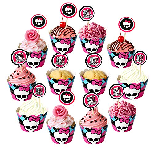 (Dream Loom Cupcake Toppers and Liners,24Pcs Holiday Pattern Cupcake Wrappers Baking Supplies,Cake and Muffin Decoration for Festival Theme and Birthday Party)