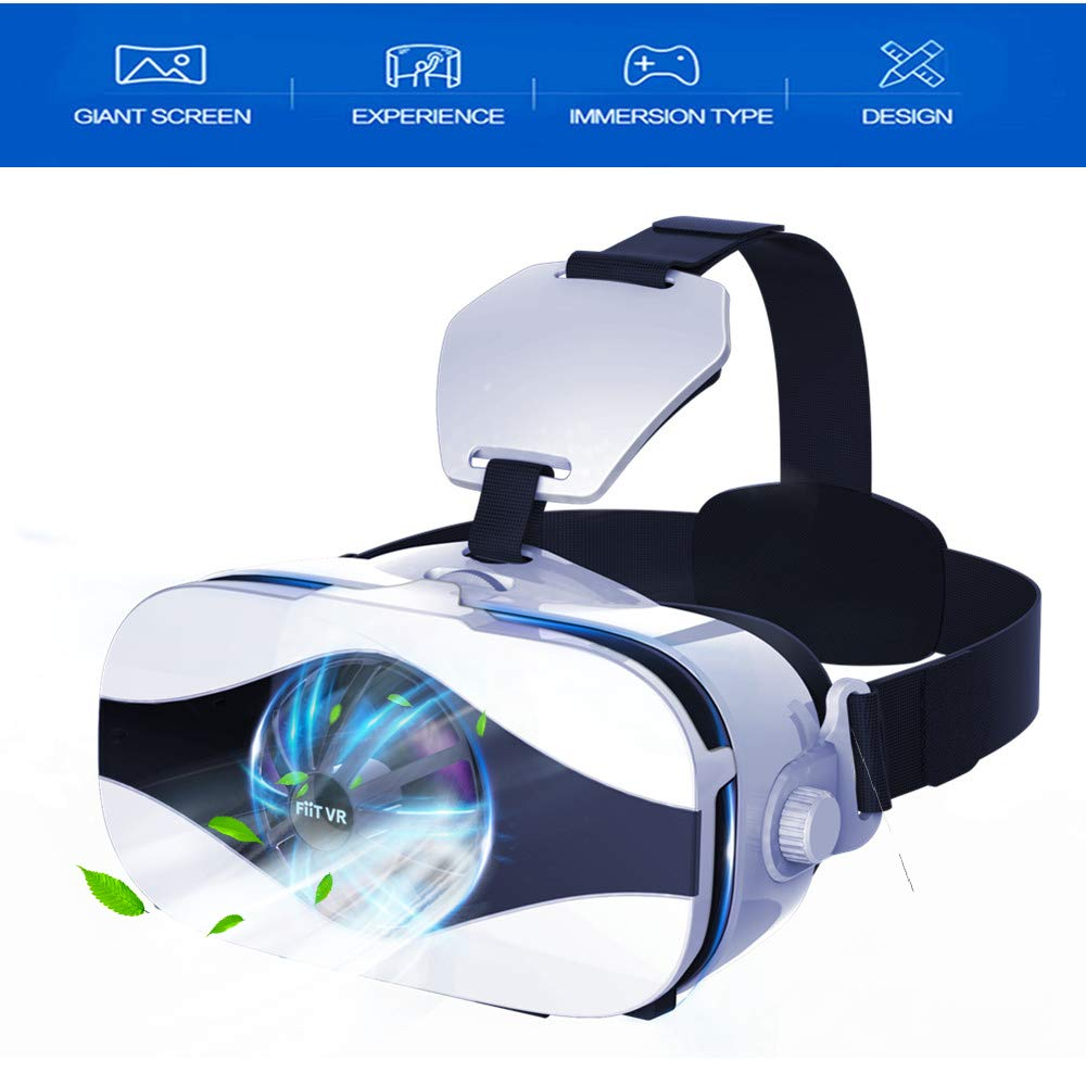 VR Headset/3D Glasses, Virtual Reality Headset with Cooling Fan & Cardboard APP Button for iPhone Xs Max XR X 8 7 6S 6 Plus Android Samsung Galaxy S9 S8 S7 S6 Edge S5 & Other 4.7-6.3'' Cellphones