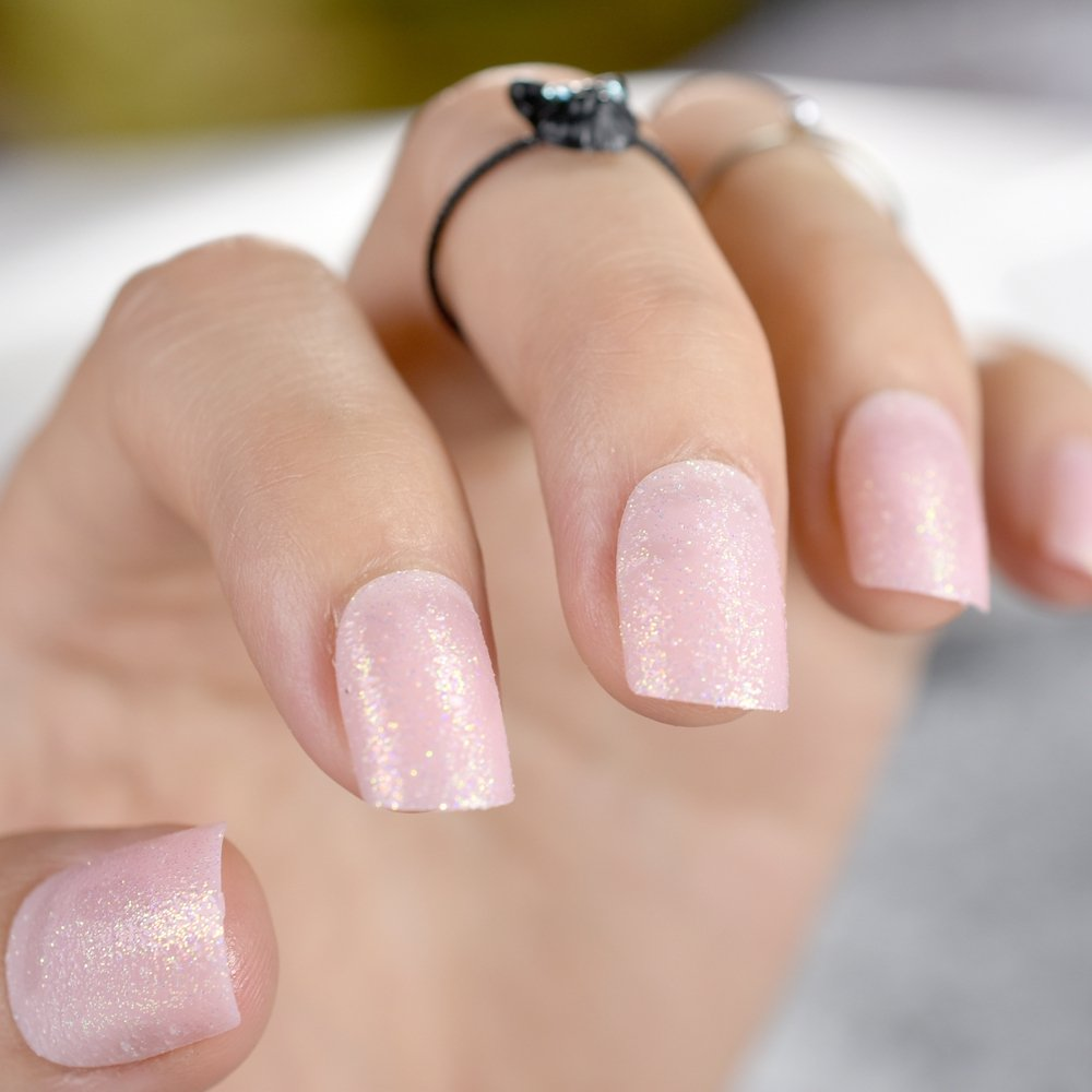 Amazon.com : Glitter UV Fake Nail Art Tips For DIY Lady Finger Light Pink Short Round Full Wrap Acrylic False Nails With Glue Sticker Z768 light pink : ...