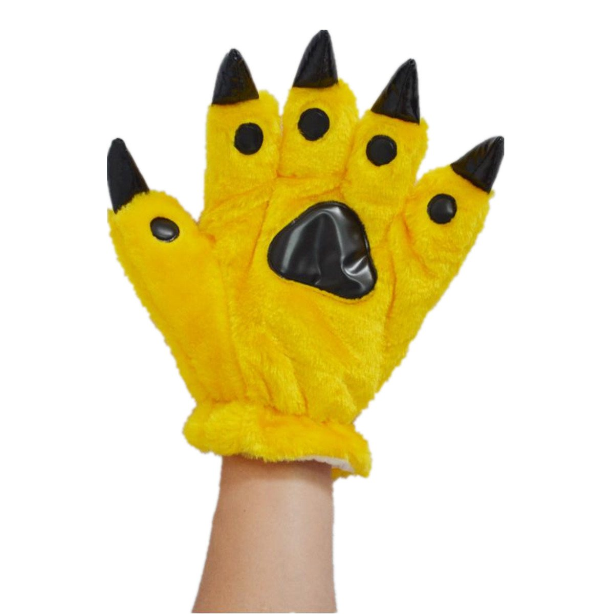 Unisex Bear Plush Paw Claw Gloves Soft Winter Mittens Yellow S