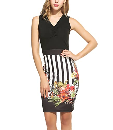 ANGVNS Women's Floral Printed Wear to Work Business Bodycon Pencil Dress