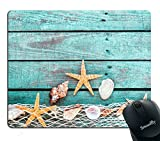 Smooffly Gaming Mouse Pad Custom,Pretty Turquoise Blue Nautical Background Decorated with Draped Fishing net and Starfish on Painted Rustic Wooden Boards Mouse pad