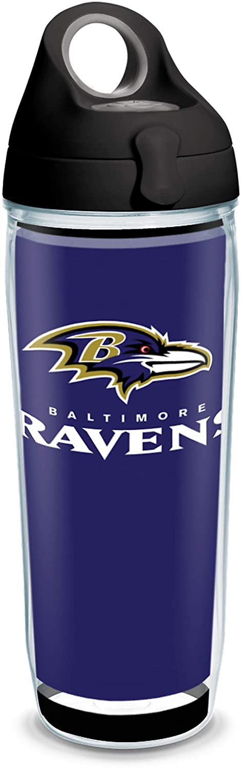 Tervis 1325574 NFL Baltimore Ravens - Touchdown Insulated Tumbler with Wrap and Black with Gray Lid, 24 oz Water Bottle - Tritan, Clear