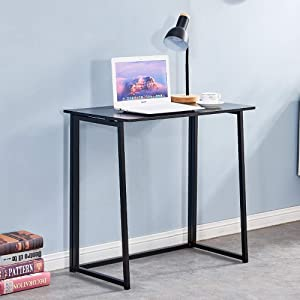 Folding Desk,4HOMART Small Foldable Computer Desk, Home Office Laptop Table Writing Desk, Compact Study Reading Table for Small Space (Black)
