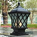 HDMY Square Fence Light Classic Courtyard Door Column Lamp Outdoor Pillar Light Rainproof Garden Light Landscape Outdoor Lighting Fixture Plaid Decoration Lantern Light 1-Light