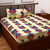 Story  at home Pearl Collection 120 Tc Printed Cotton Double Bedsheet With 2 Pillow Cover - Queen Size, Multicolor