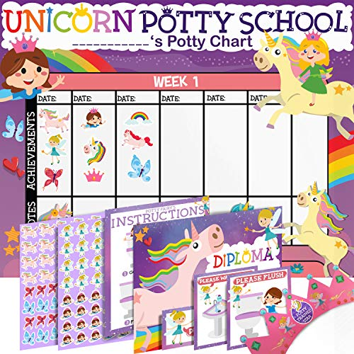 Potty Training Chart for Toddlers - Unicorn Theme - Sticker Chart - Celebratory Diploma, Crown and Book - 4 Week Potty Chart for Girls and Boys - Potty Training Sticker Chart