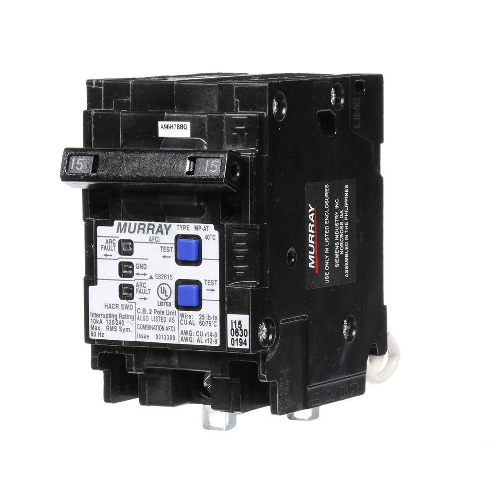 15 Amp 3 1 2 in Double Pole Combination AFCI Circuit Breaker MP215AFCP Murray
