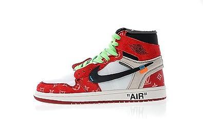 88d44362fc5d3 Newoffwhite Louis Vuitton x Off White x AJ 1 White Wine Chaussures de  Basketball Homme Femme