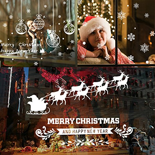 Wonderland Room Winter Roll (200+ Christmas Window Snowflake Clings Decor-White Deer car Sticker /Merry Christmas -Elite Choices Winter Wonderland Xmas Party Stickers Decal Ornaments Party Supplies (3 Sheets))