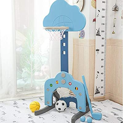 RULENUNE Children Basketball Hoop Indoor Outdoor Ball Sports Game Portable Durable Golf Basketball Stand 3-in-1 Adjustable Shooting Frame Play Set for Toddlers Kids Room Toy Age 4 5 6 Years (Blue): Toys & Games