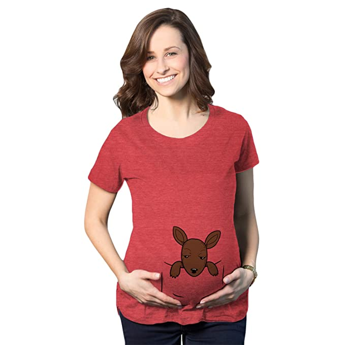 bd2a76f670a79 Maternity Peeking Kangaroo Baby Funny Pregnancy Shower Gift T Shirt  (Heather Red) S