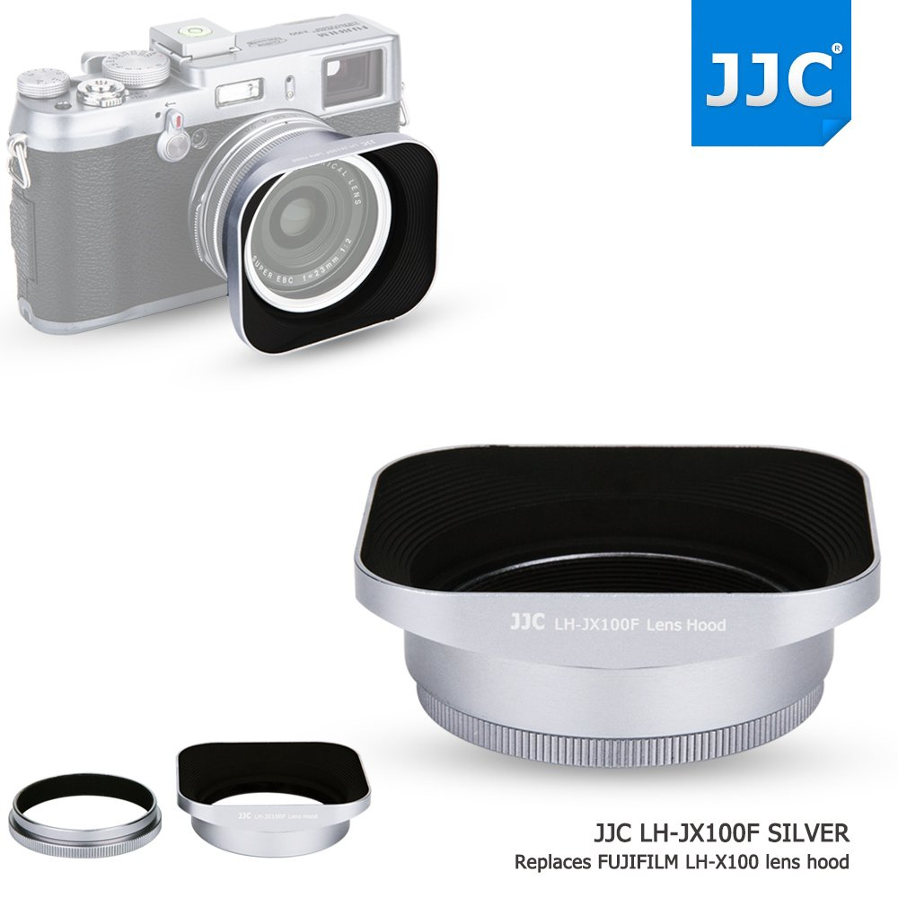 JJC Silver Metal Square Reversible Lens Hood & 49mm Filter Thread Adapter Ring Kit for Fujifilm X100F X70 X100T X100S X100 Digital Camera replaces Fujifilm LH-X100