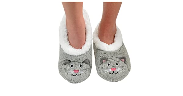 988dff8357d5 Snoozies Womens Animal Heads Sherpa Plush Fleece Lined Slipper Socks - Grey  Cat