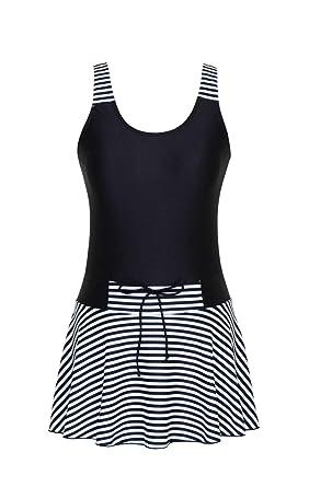 b6acb19141714 DANIFY Women's Sailor Striped Swimming Suit Slimming Bathing Suit Tummy  Control Swim Dress Black