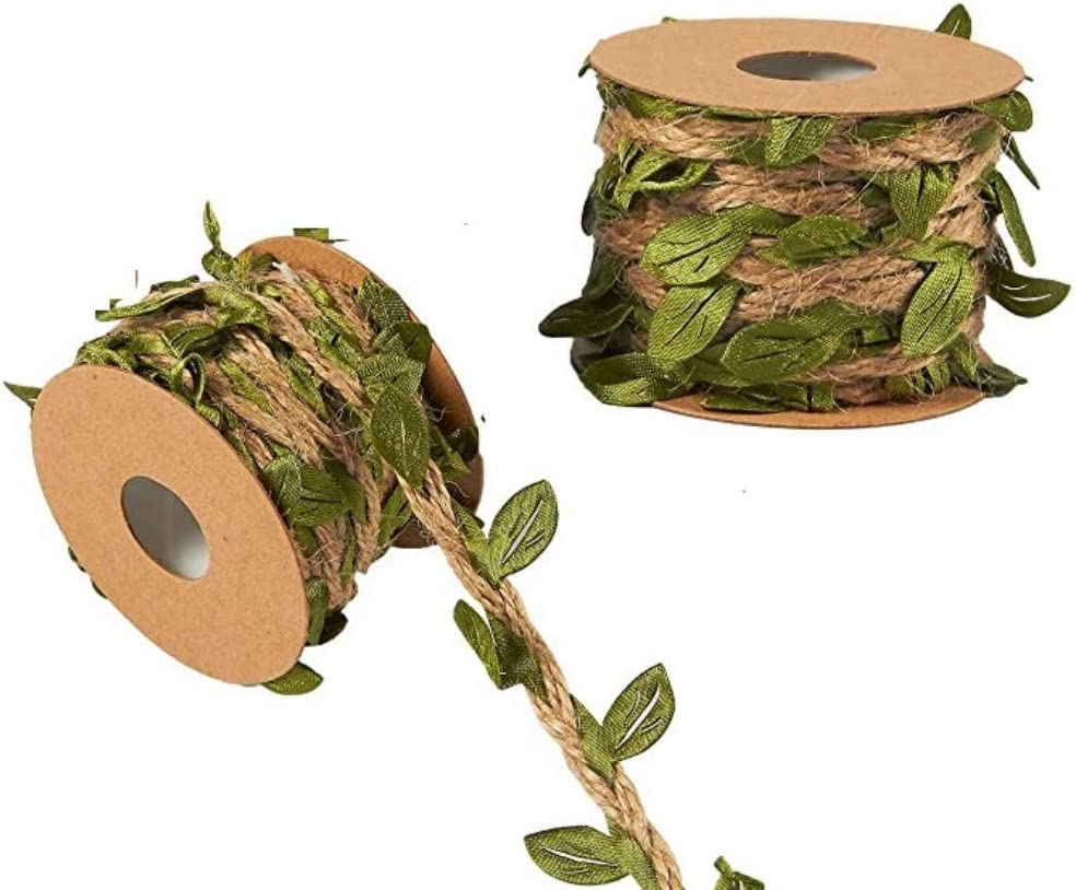 Mydio 22 Yards Olive Green Leaves Leaf Trim Ribbon - Artificial Vines for DIY Craft Party Wedding Home Decoration (Olive Green Rope)