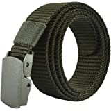JY_shop Mens Belt Nylon Webbing Canvas Outdoor Web Belt with Automatic Click Buckle Can Pruning Enclosed in an Elegant…
