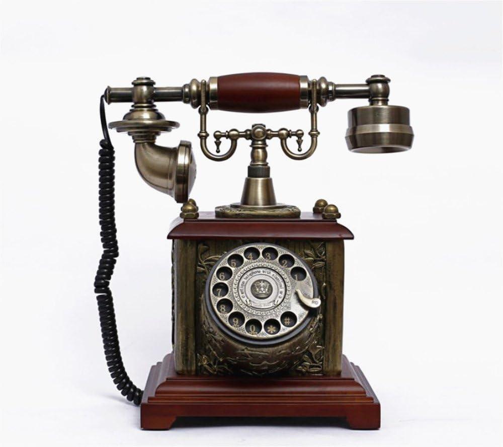 MICHEN Retro Phone Siamese Rosewood Antique Telephone Home Retro Old-Fashioned Telephone Landline Solid Wood Globe Card Case Pen Holder