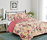 Glory Home Design Elisa 3pc Reversible Quilt Set by (Rose Garden, King)
