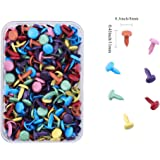 200pcs Mixed Color Metal Brad Paper Fastener for Scrapbooking Craft 8mm,bright with Platic Storage Box