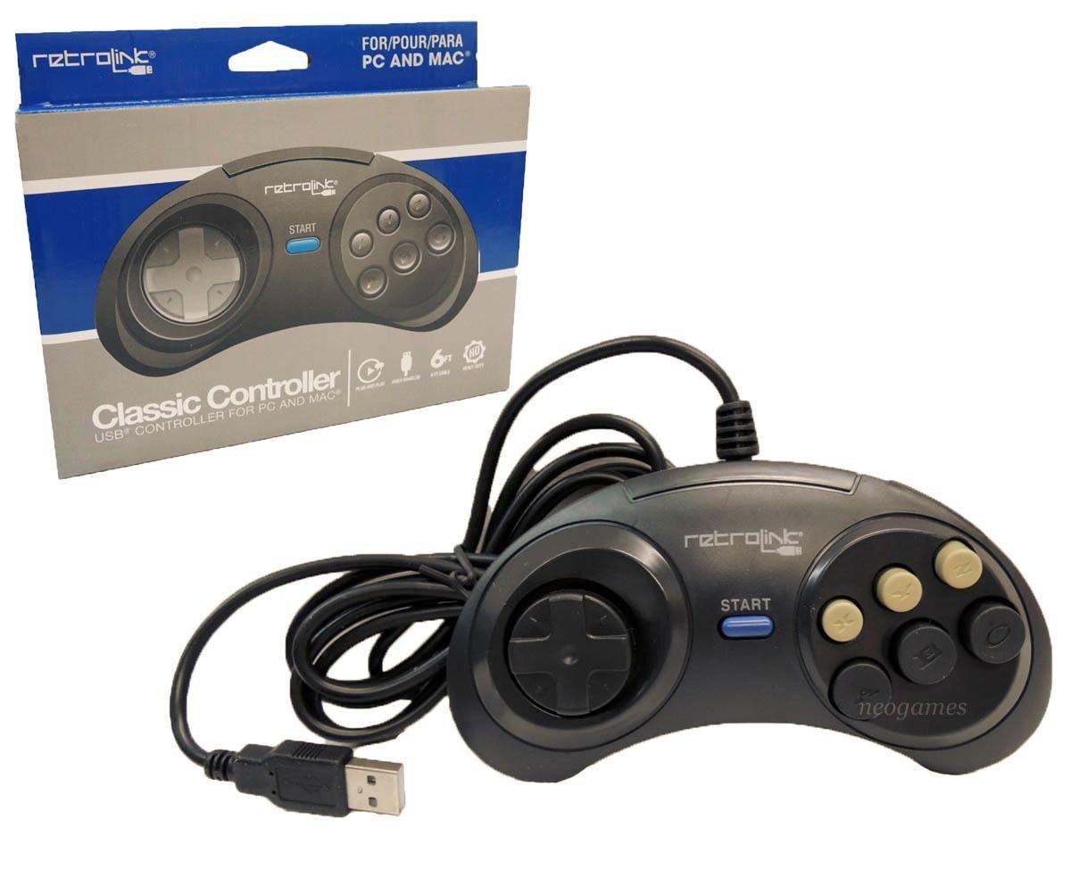 Retro Link Sega Genesis Classic USB Controller for PC and Mac