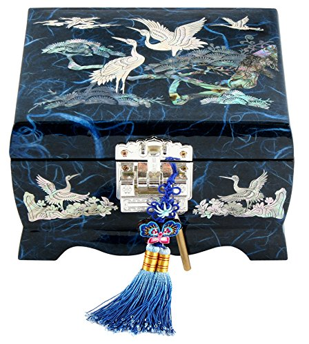Fun-Store Nacre Inlay Mother of Pearl Music Jewellery Storage Chest Wooden Box Crane with Pin Tree Design Jewelry Mirror Box Keepsake Treasure Gift Box Trinket Case Organizer (Blue)