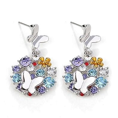 "aeadfe0f4 ""Ocean Bubble"" Swarovski Crystal Multi-stone Round Stud Earrings  ..."
