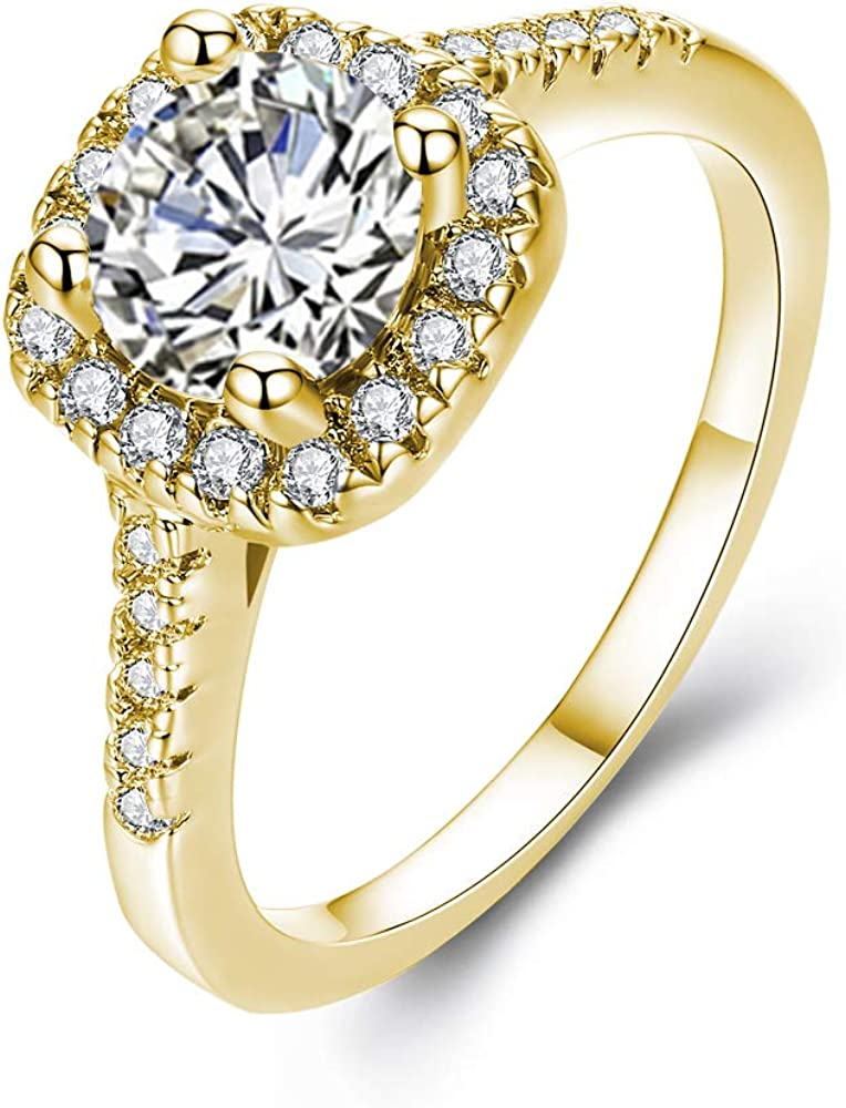 UFOORO CZ Ring Solitaire Crystal Women's Engagement Rings Cubic Zirconia Wedding Band Gift