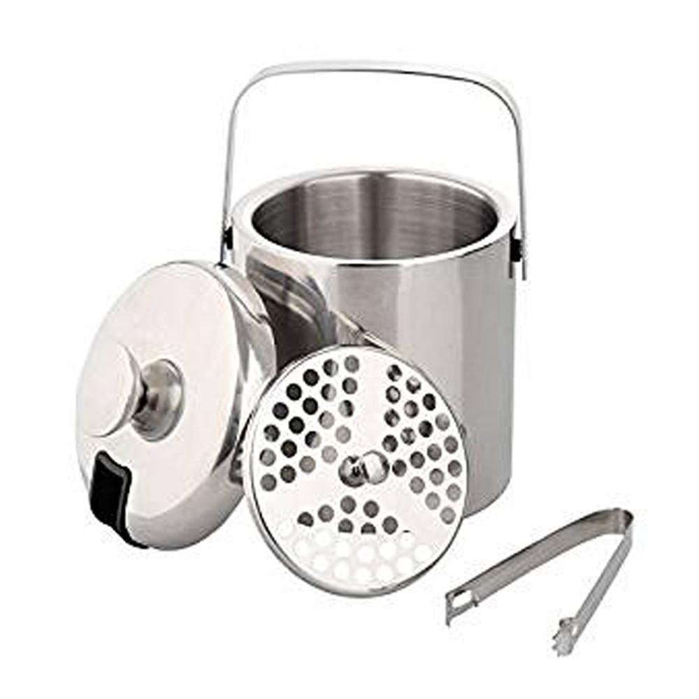Aolvo Mini Ice Bucket Kit with Lid,Tongs and Strainer, Insulated Double Wall Stainless Steel Ice Cube Organizer and Storage Containers 1.3 L By
