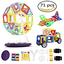 Magnetic Building Blocks,TOWERPRO Magnet Toys Magnetic Tiles Educational Toys for KidsToddlers