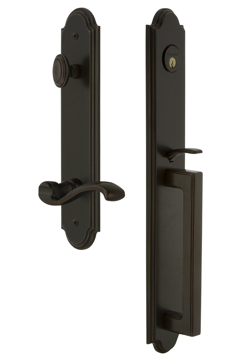Single Cylinder Lock Backset Size-2.375 Grandeur Hardware Grandeur 847085 Hardware Arc One-Piece Handleset with D Grip and Portofino Lever in Satin Nickel Backset Size-2.375