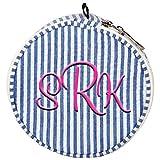 Personalized Royal Blue Seersucker Jewlery Bag Organizer