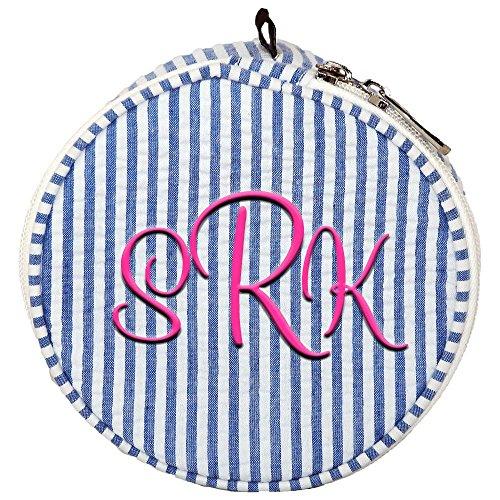 Personalized Royal Blue Seersucker Jewlery Bag Organizer -