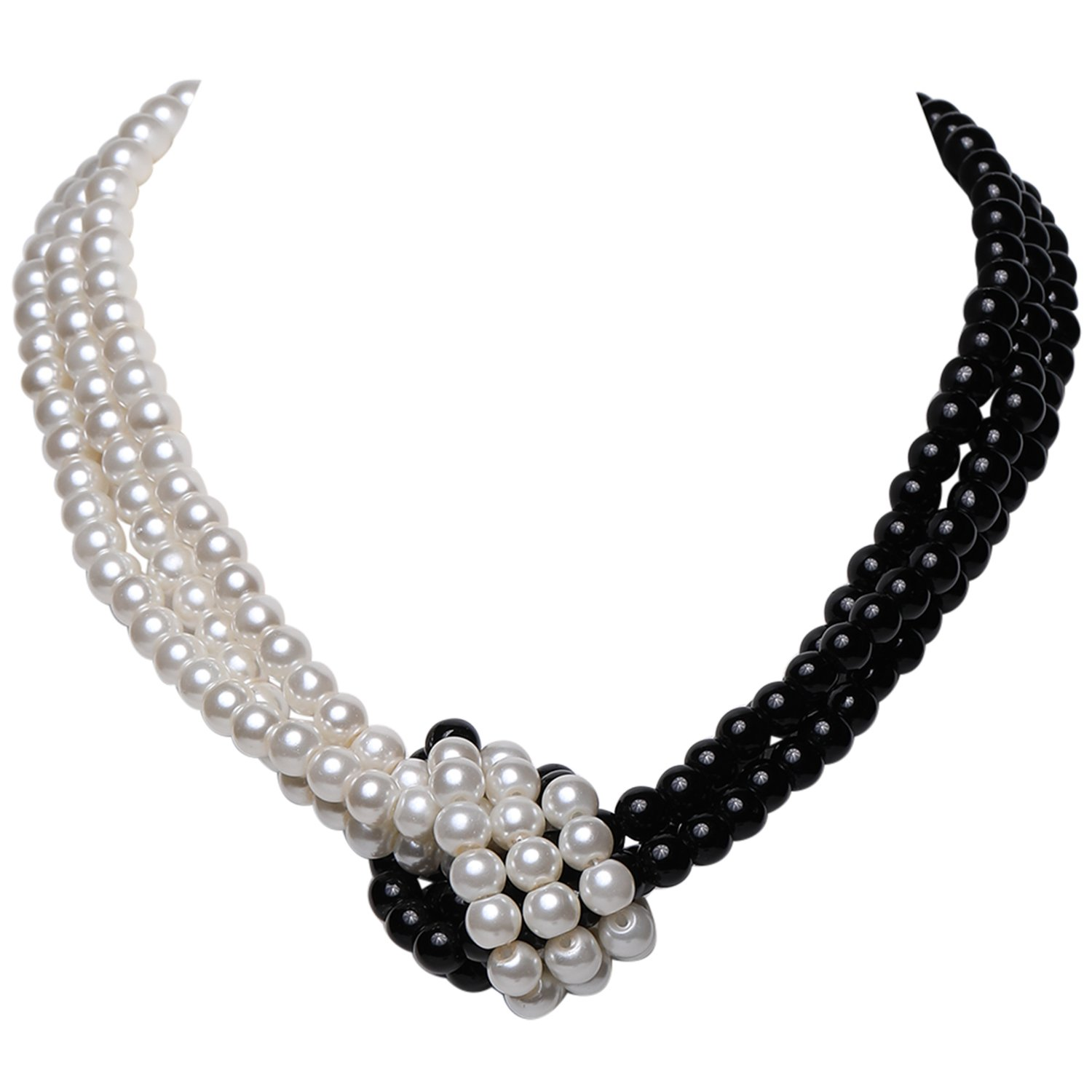 BABEYOND 1920s Imitation Pearls Necklace Gatsby Knot Pearl Necklace 20s Pearls 1920s Flapper Accessories Two-tone Stitching Style (Black and White)