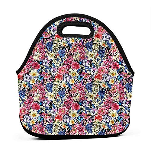 Willow Tote - Convenient Lunch Box Tote Bag Country,Willow Lilies Hyacinths,sports lunch bag for women