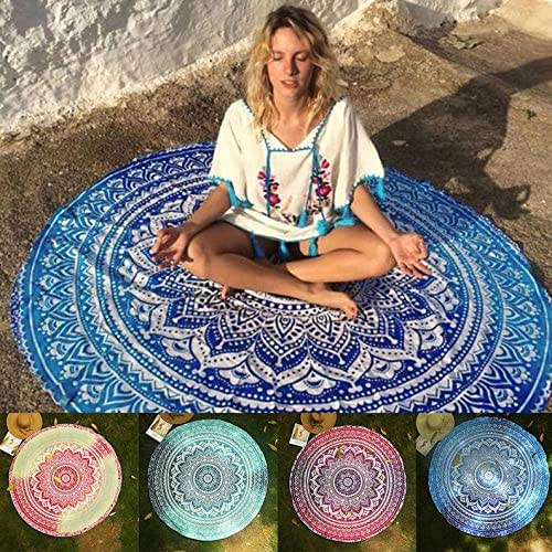 Fashionfiestastore Indian Mandala Round Tapestry Hippie Dorm Decor Roundie Beach Sheet Bohemian Beach Towel Yoga mat Tapestries Ombre Table Cloth Wall Hanging Meditation Picnic Rug (500, 72