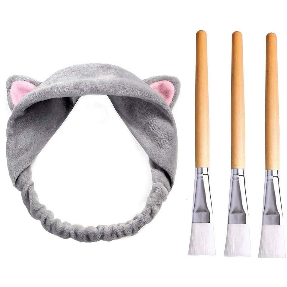 Face Mask Brushes, JT JUSTIME 3pcs Wooden Facial Mask Brush with 1pcs Cute Hair Band for Applying Mud Mask, Eye Mask, Serum or DIY Applicator