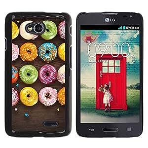 Paccase / SLIM PC / Aliminium Casa Carcasa Funda Case Cover para - Sweet Food Colorful Black - LG Optimus L70 / LS620 / D325 / MS323